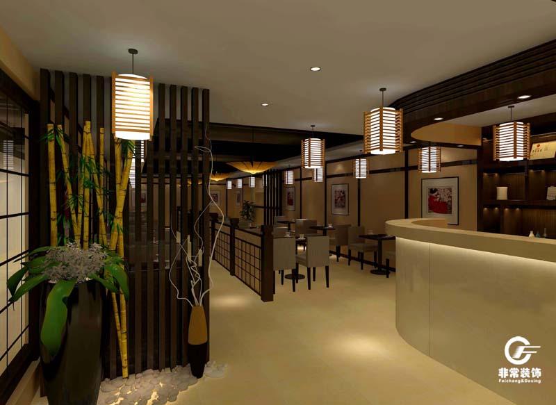 寿司店内设计效果图-中山八路日本寿司料理店装饰设计案例